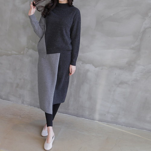 [zoozoom] Coloring line knit skirt 1color / 28588