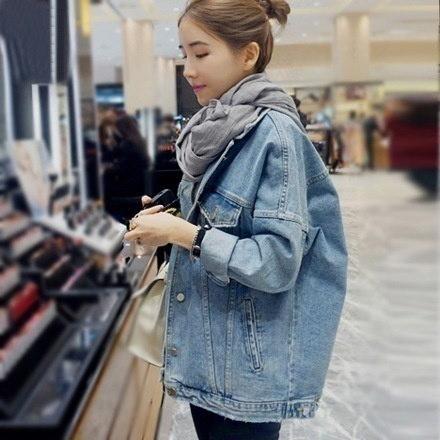 女性のファッションカジュアルルーズロングスリーブコートポケット付きヴィンテージプラスボーイフレンドデニムジーンズ