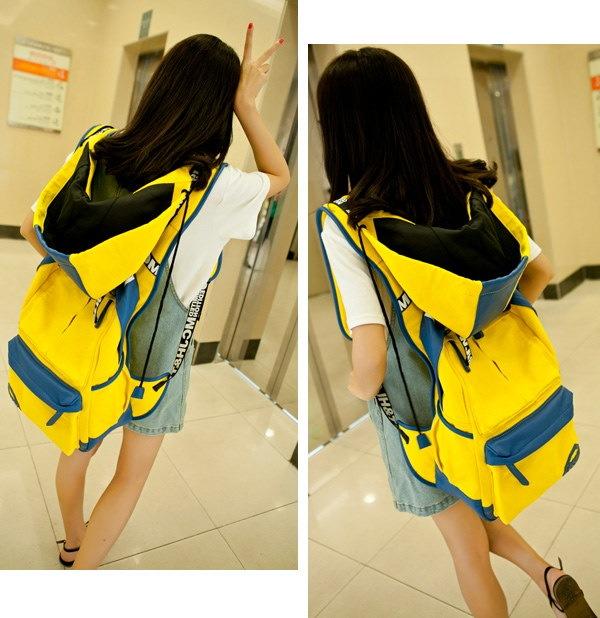 フード付き 大容量リュックサック カラフル 男女兼用 通学 旅行バッグ お洒落バックパック