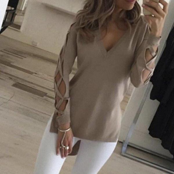 女性のファッションソリッドカラーVネックフルスリーブホロウスプリット不規則シャツプラスサイズトップブラウス