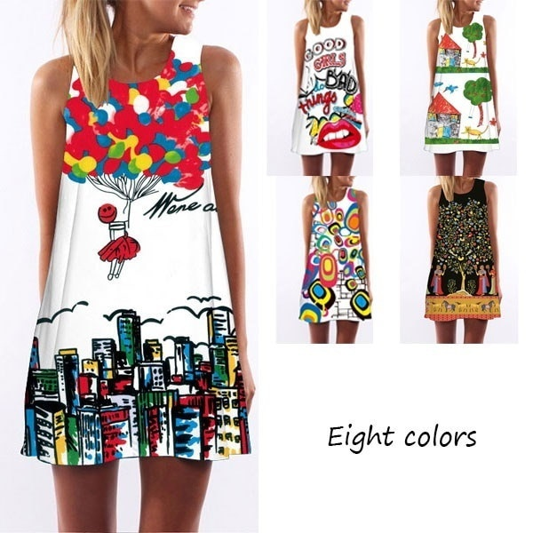 Summer Sexy Dress Women Round Neck Sleeveless Vintage Print Casual A-Line Dresses