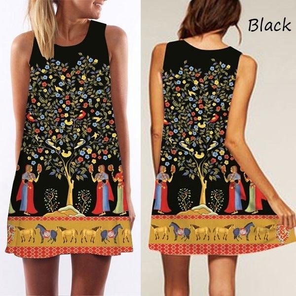 Summer Sexy Dress Women Round Neck Sleeveless Vintage Print Casual A-Line Dresses