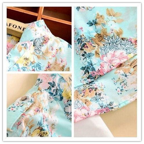 Vネック春の自動シフォンブラウスの女性の長袖の花のプリントシャツの女性のカジュアルな衣類