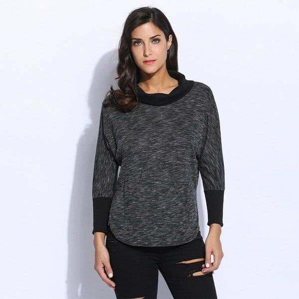 Women Casual Long Sleeve Turtleneck Patchwork Loose Pullover T-Shirt