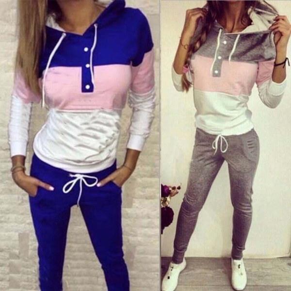 女性の秋の服セットファッションロングスリーブトラックスーツ2ピーススポーツスーツパーカージョギングパンツ