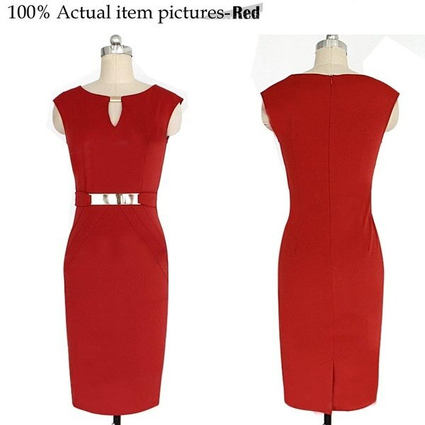 The newest women sleeveless knee length office dress work elegant ladies formal party pencil dress