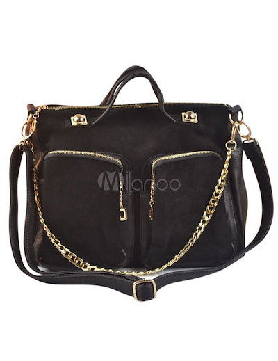 Chains PU Leather Sweet Womens Tote Bag