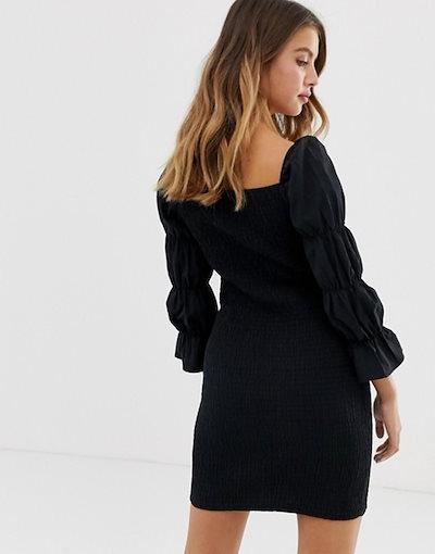 ベルシュカ レディース ワンピース トップス Bershka square neck shirred dress in black