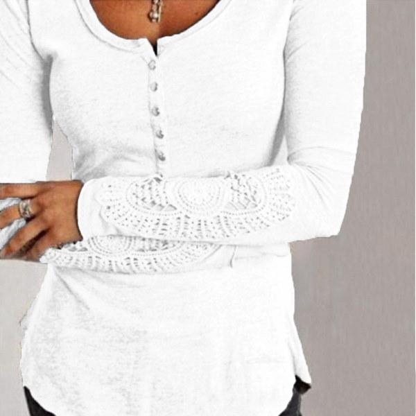 S-5XLレディース刺繍レースクルーネックカジュアルトップスセクシーなストレッチシャツプラスサイズブラウス