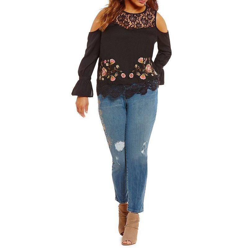ジェシカシンプソン レディース トップス ブラウス・シャツ【Jessica Simpson Plus Dara Lace Embroidery Top】Black