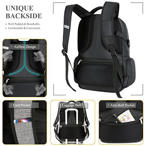 SOCKO 17.3 Inch Shockproof Laptop Backpack with USB Port / Roomy Lightweight Water Resistant Busi.