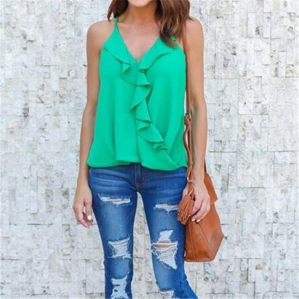 Ladies Irregular Chiffon Tops Fashion Flouncing Camisole Sexy V-neck Summer Tank Top