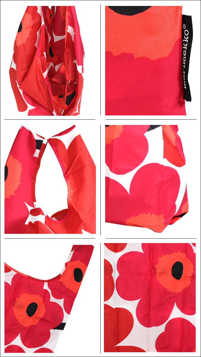 マリメッコ marimekko バッグ エコバッグ トートバッグ 花柄 040470 ホワイト レッド SMART BAG PIENI UNIKKO レディース