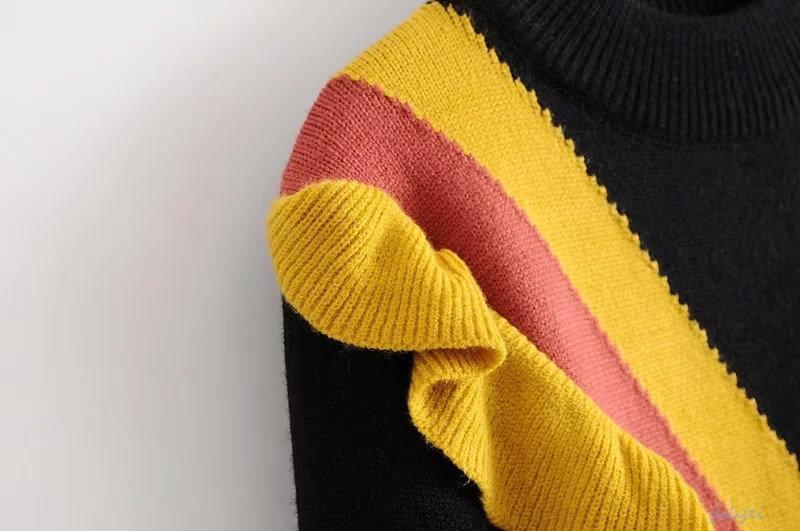 欧米風 2017秋冬 セーター 配色ニット ニットウェア  ラウンドネック ニット レディース ゆったり 大人 かわいい  ブラック、ホワイト