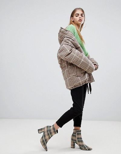 ベルシュカ レディース コート アウター Bershka check padded coat