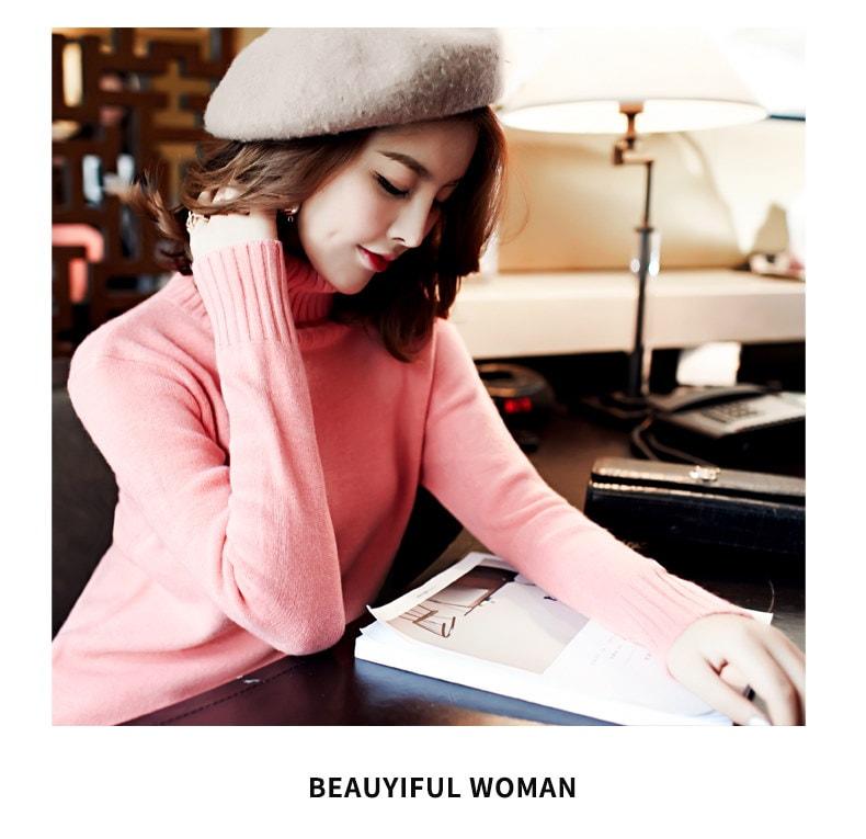 韓国ファッション♥タートル ニット トップス セーター レディース 長袖 ゆったり ハイネック プルオーバー カシュクール 柔らかい 肌触り良い リブ 無地 シンプル 可愛い 暖かい 豊富