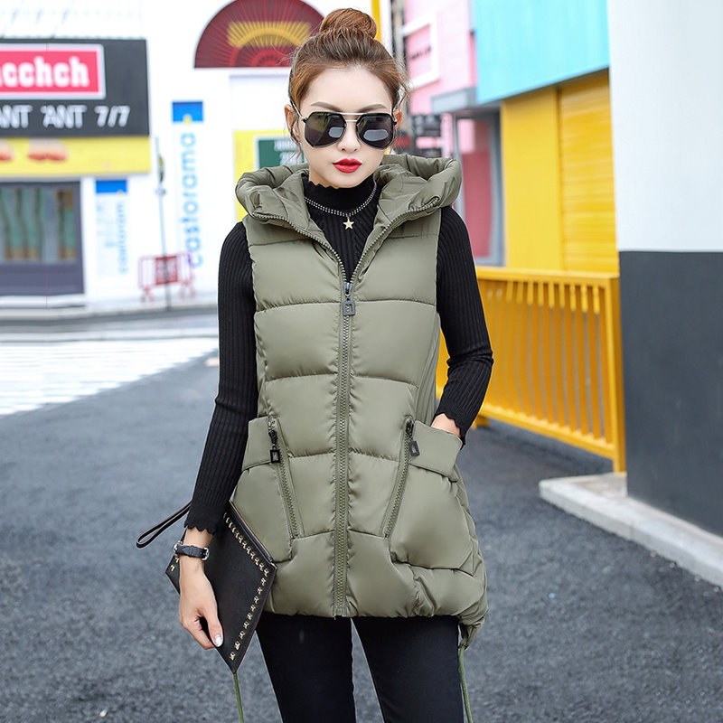 ロングベストレディースファッション帽子ベスト ジャケット韓国ファッションシンプル純色ロングタイプ中綿入りコート防寒秋冬新作大きいサイズアウター前開きチョッキベストルー