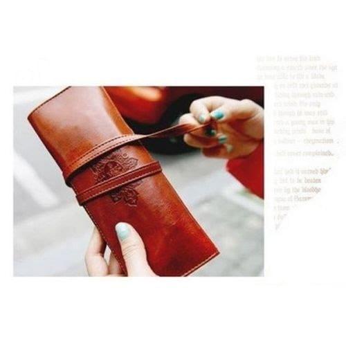 ホットセールコスメティックペンペンシルレトロレザーポーチハンドバッグケース