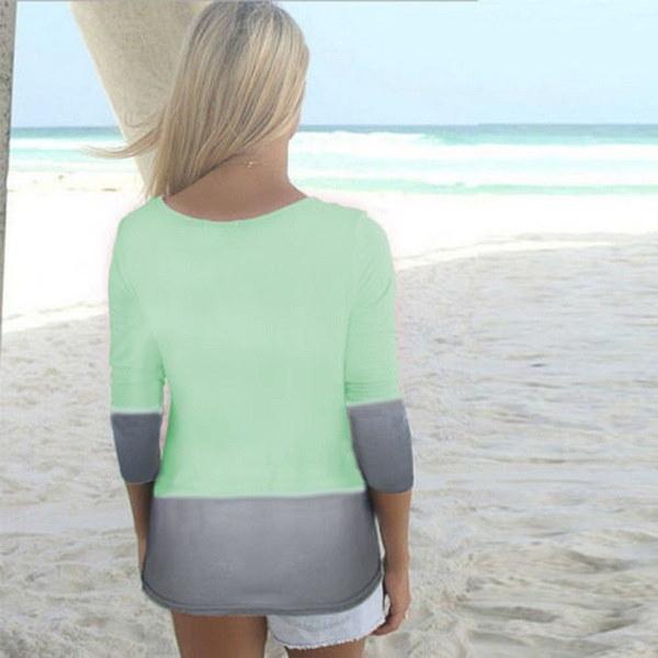 5xlグラデーションカラープリントレディースロングスリーブOネックカジュアルTシャツトップスブラウスプラスサイズ