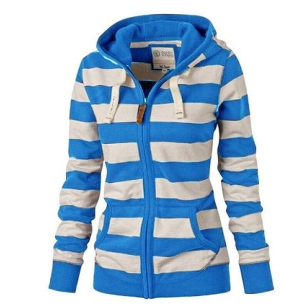 プラスサイズの女性ストライプジッパーカジュアルパーカーコート冬新ファッションスウェットアウトレット
