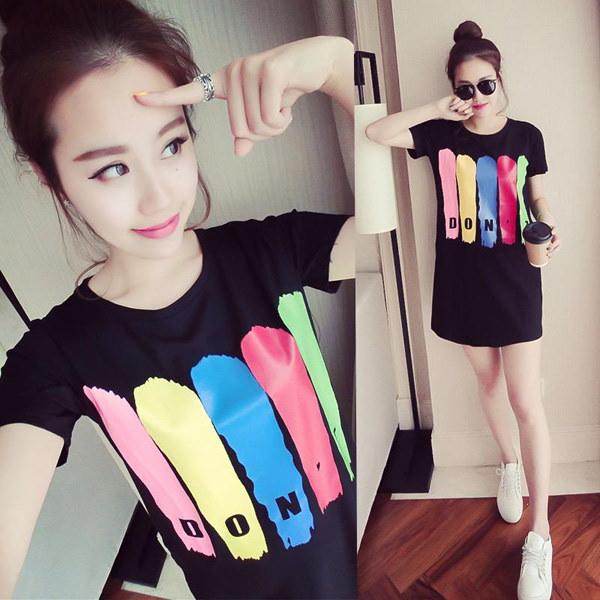 【送料無料】夏の韓版女装新しいスタイルワンピースゆったりコード半袖Tスカート潮