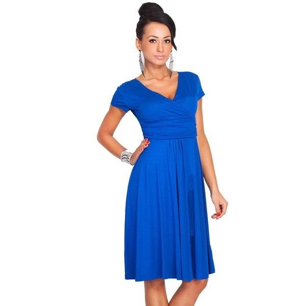 女性のドレスVネック半袖パーティーワークルーズドレス