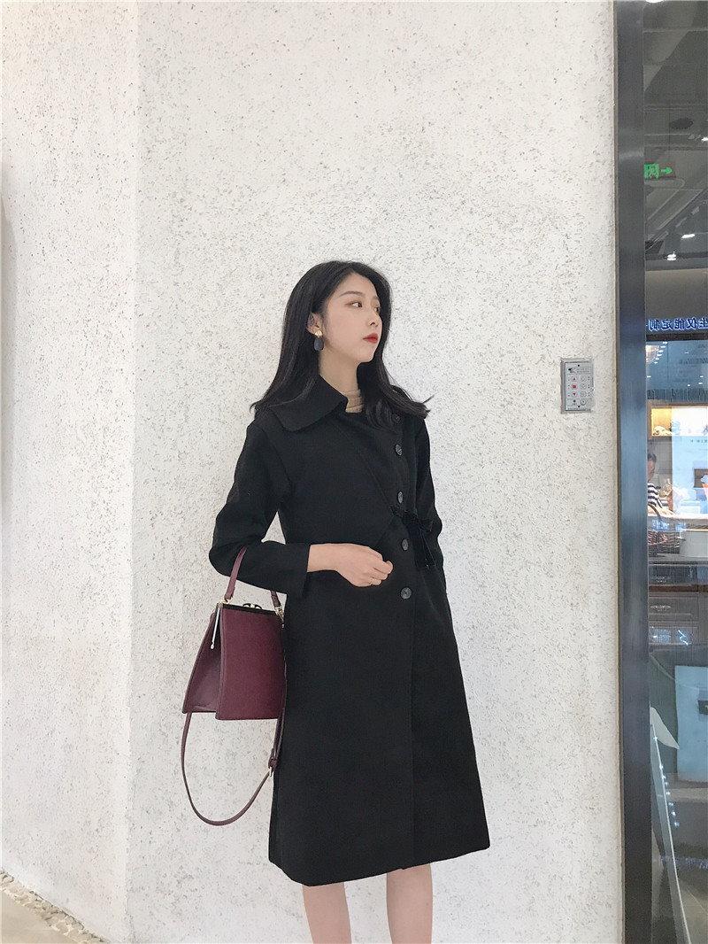 韓版chic風復古無地開襟単コーデにストラップで長めツイードジャケットコート女秋冬の上着