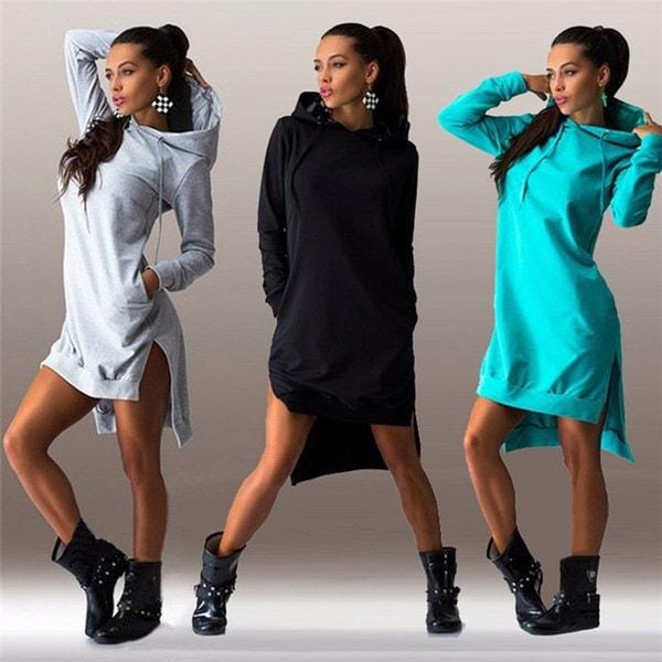 秋レディースカジュアルルーズパーカードレス女性プラスサイズフーディプルオーバーフード付きドレス