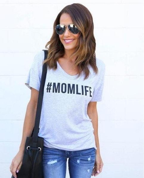 レディースファッションMOMLIFEプリントTシャツ夏の半袖カジュアルなトップス