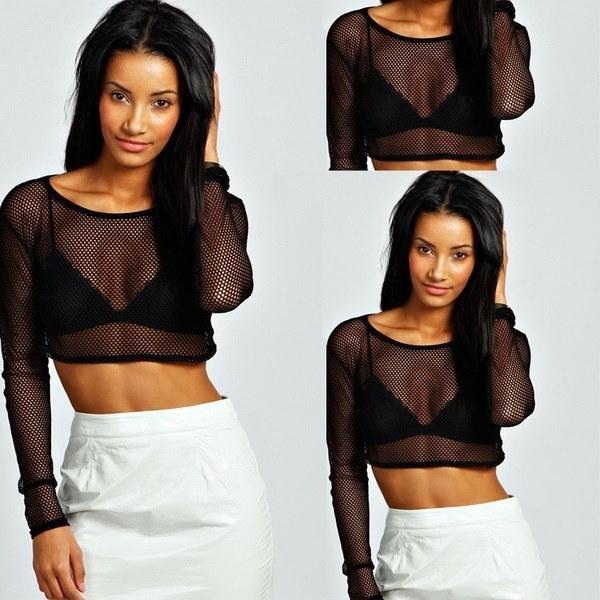 NEW女性セクシーな黒メッシュピアスロングスリーブクロップトップTシャツブラウスティーmday S  -  XXL