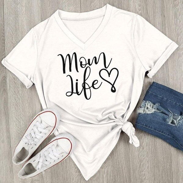 Women s Fashion Mom Life Heart Letters Printed V-Neck T-Shirt Short Sleeve Top Blouse Casual Shirt B