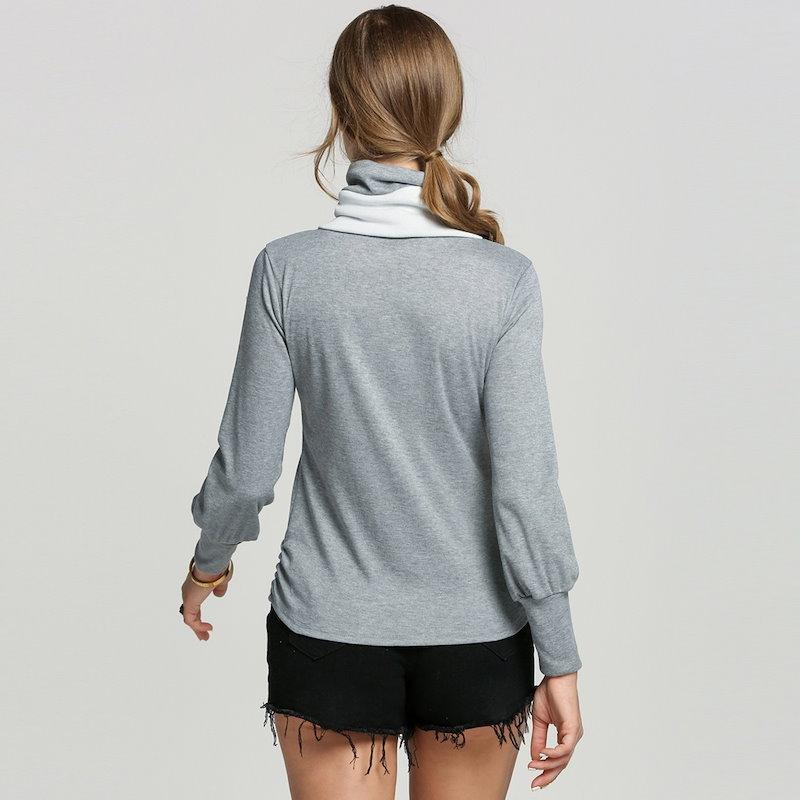 冬の女性ハイネックカジュアルウォームジャンパースウェットTシャツブラウストップス