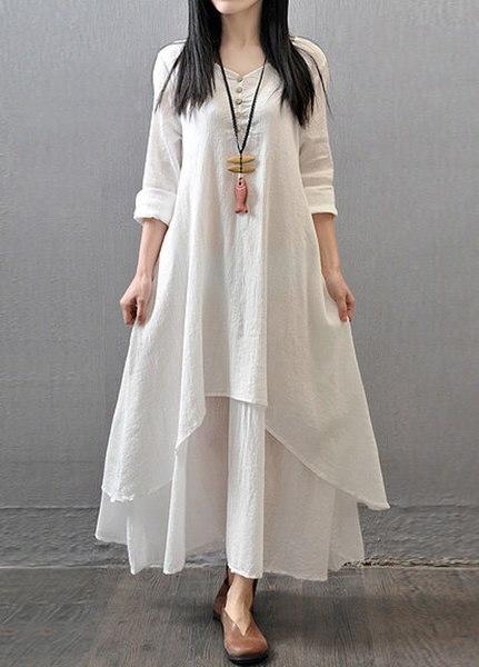 女性のAラインエスニックコットンボホリネン農民ルーズロングブラウスシャツマキシドレス
