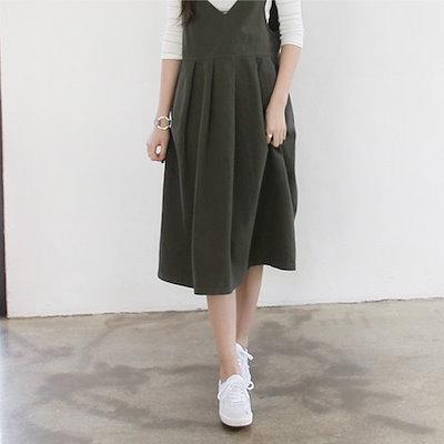 ★韓国商品c068★ポーリング有サスペンダーロングワンピースビッグサイズ♥韓国ファッション女性服ファッション♥
