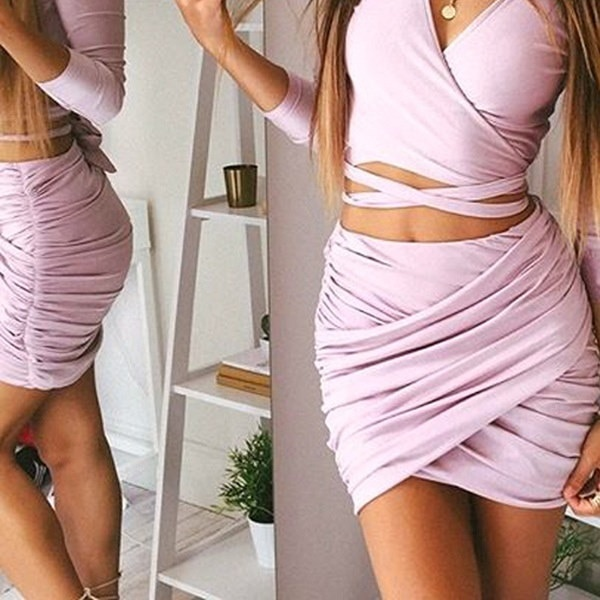 2016ストリートファッション女性レディハイウエストショートスカートセクシーな包帯Bodycon Cross Fold Pencil Skirts