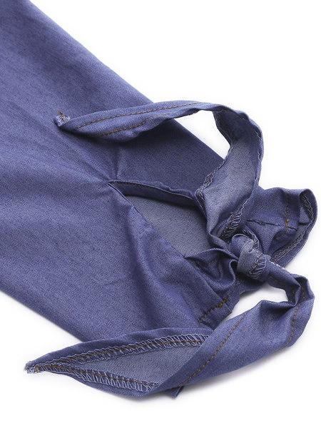 レディースセクシーなオフショルダーボタンデニムルーズトップスシャツジーンズミニドレス