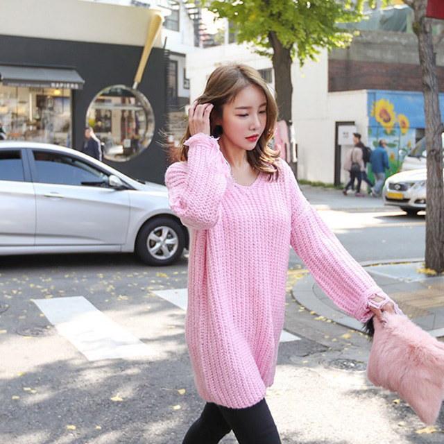 ルーズフィットVネック手術ロングニットティーデイリールックデイリーバックkorea women fashion style
