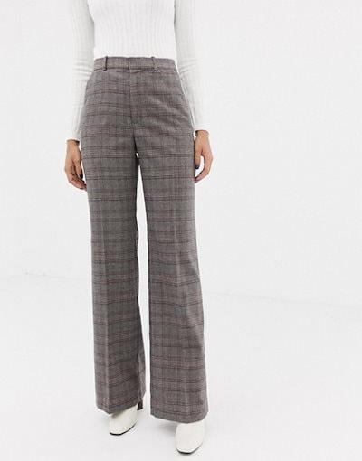 マンゴ レディース カジュアルパンツ ボトムス Mango high waist pants in gray check