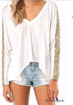 ファッションレディーススパンコールニットTシャツ秋の原宿Tシャツ女性用ルーズVネックトップスロングスリーブ
