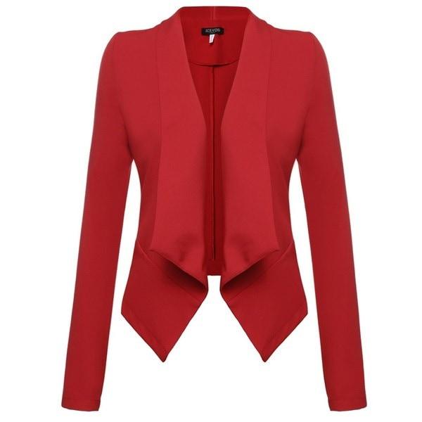 女性ラペルネック長袖アシンメトリー裾ブレイザーフロントオープンソリッドOLビジネスカジュアルウエストコート3S