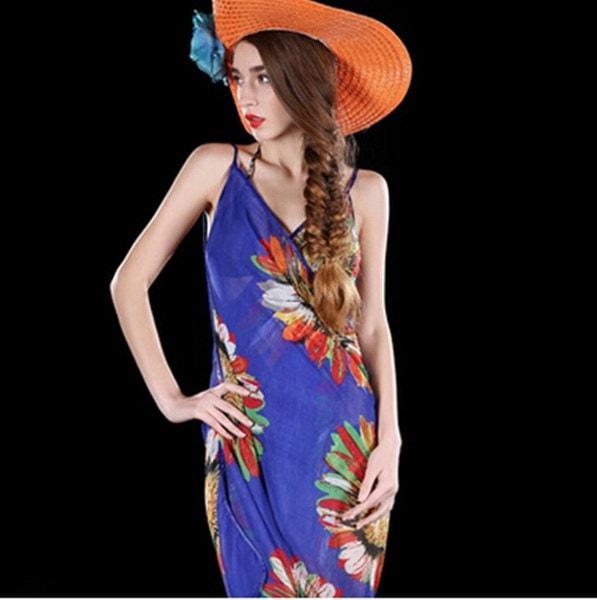 女性のセクシーなシフォンビキニカバービーチスイムウェアドレススカーフパレオサロンラップ女性セクシーなシフォンB