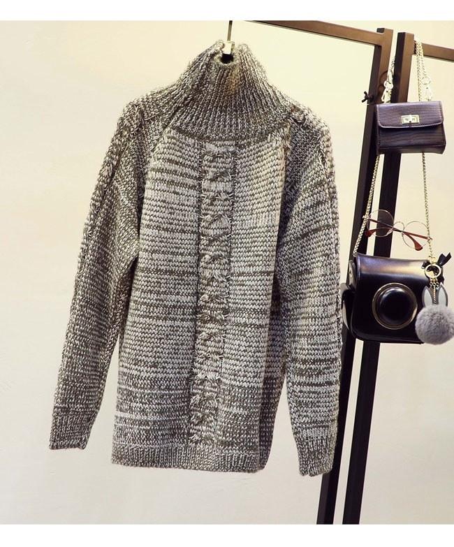 レディースファッション トップス セーター ニット タートルネック ハイネック プルオーバー ロング丈 リラックスの雰囲気に カジュアル 韓国風ケーブル編み フリーサイズ
