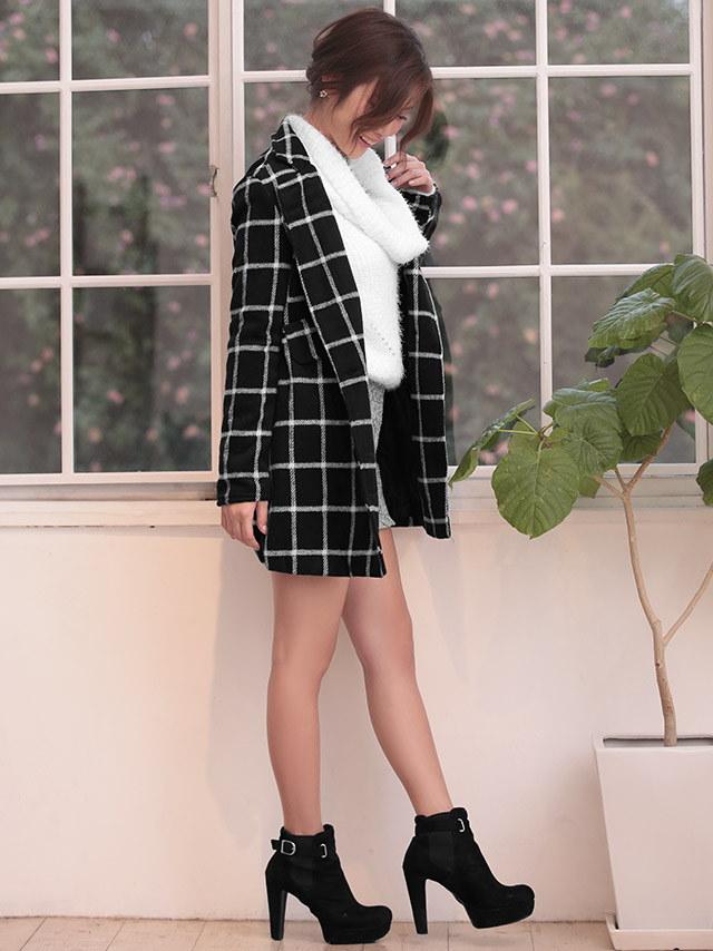 【Nina ニーナ】ラインチェックカジュアルチェスターコート アウター ダブル ボックス 長袖