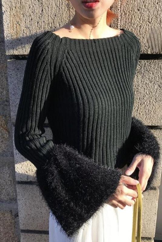 【送料無料】【即納】袖シャギー ファー 可愛い ボートネック リブニット オフショル ベルスリーブ ニット セーター トップス