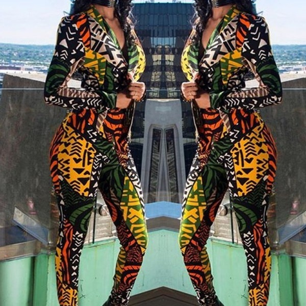 ファッション女性の秋のコートとパンツセット2 2つのセットのセットTracksuitカラフルなプリントワークスーツレディ