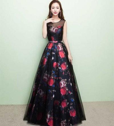 花柄パーティードレス 結婚式 ドレス ウェディングドレス パーティドレス お呼ばれ ピアノ 発表会 フォーマル 二次会ドレス 20 代 30 40 韓国 オルチャン