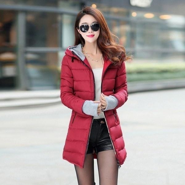 Women s Cotton-padded Jacket 2017 Winter Medium-long Down Cotton Plus Size Jacket Female Slim Ladies