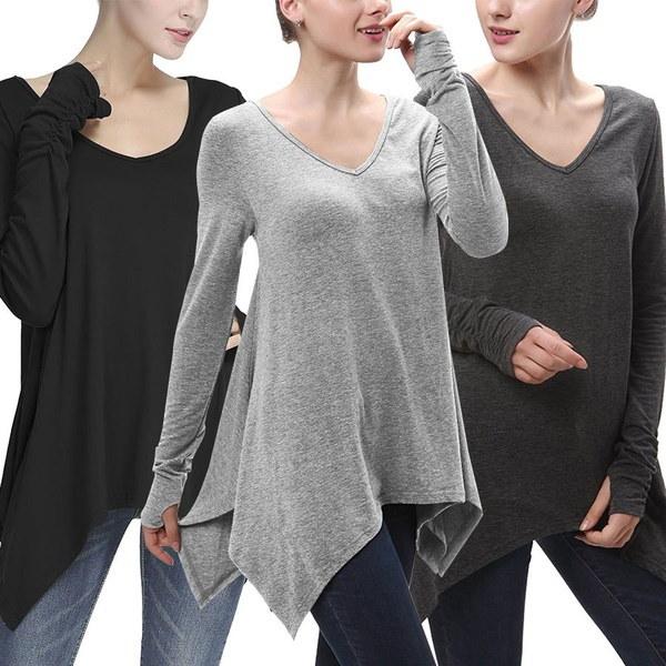 女性ファッショントップスシャツルーズコート不規則な裾の服ロングスリーブTシャツ
