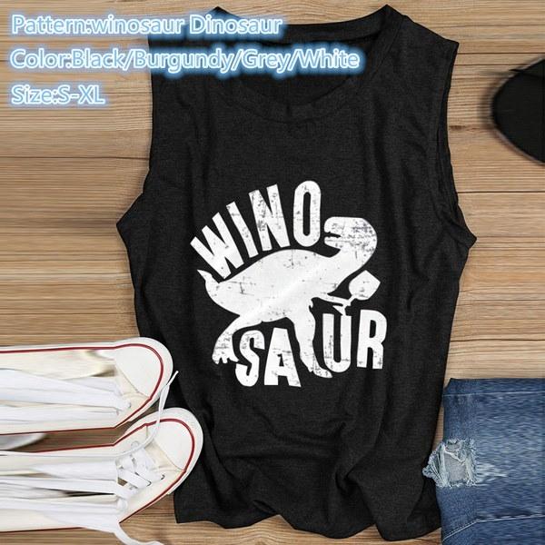 8スタイルプラスサイズの女性の夏のファッション愛ウィノサウア恐竜のパームプリントノースリーブベスト
