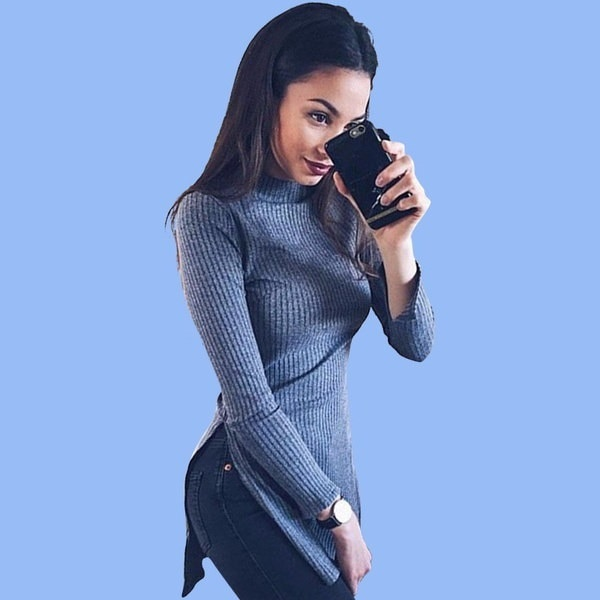 Women Knitted Sweater Slim Pullovers Long Split Sweater Autumn Casual Tops